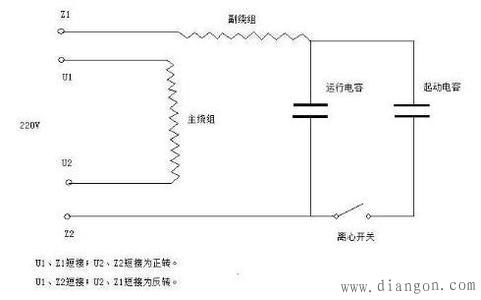 单相异步电动机接线图    上图左右为正反转实物接线图,下图是电机