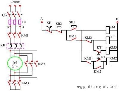 三相异步电动机星三角降压启动控制电路图解图片