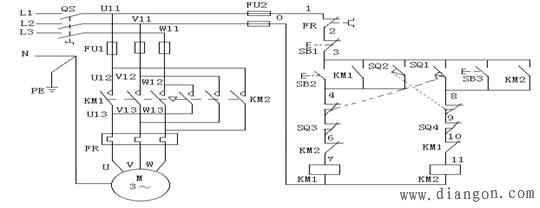 位置控制与自动往返控制线路 - 电路图分享 电工论坛