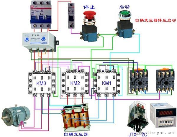 电机自耦降压启动接线图