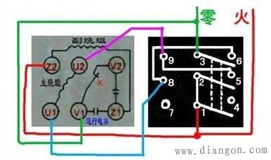 3,当串接了电容器的启动线圈与运转线圈并联时,并联的二对接线头的