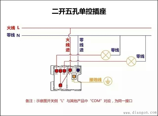 二开五孔单控开关五孔插座实物接线图