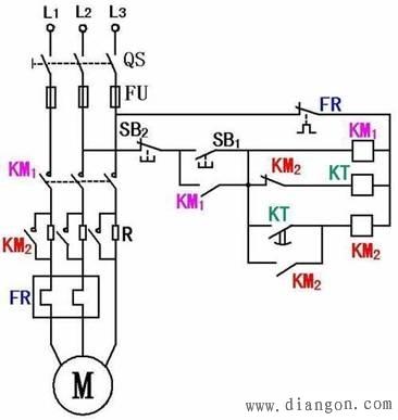 电动机定子串电阻降压启动原理接线图图片