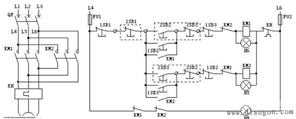 电动机正反转控制电路图 实物接线图解
