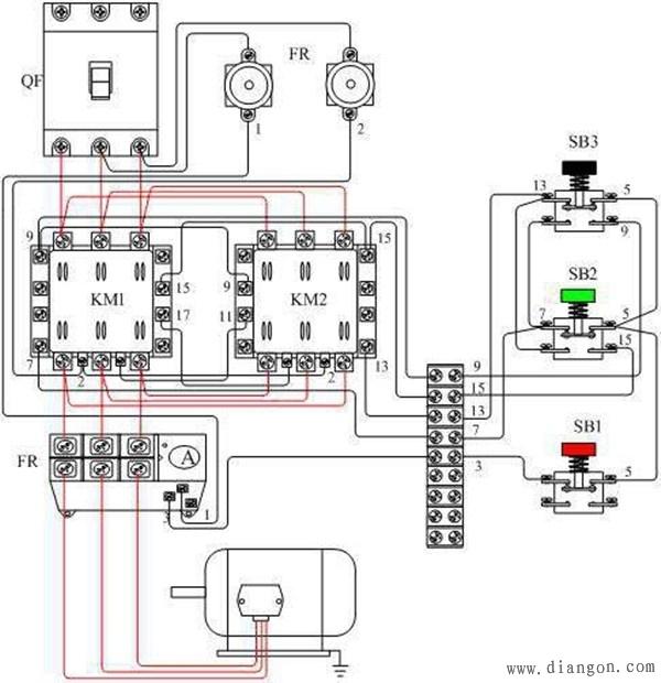 69 电路图分享 69 电动机正反转控制电路图 实物接线图解    2,起