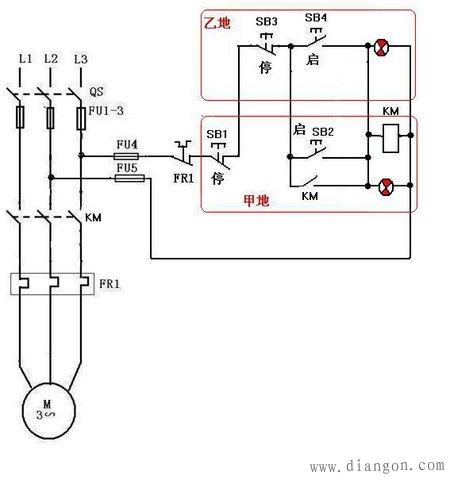 电工论坛 69 电工技术交流 69 电路图分享 69 电机两地控制接线