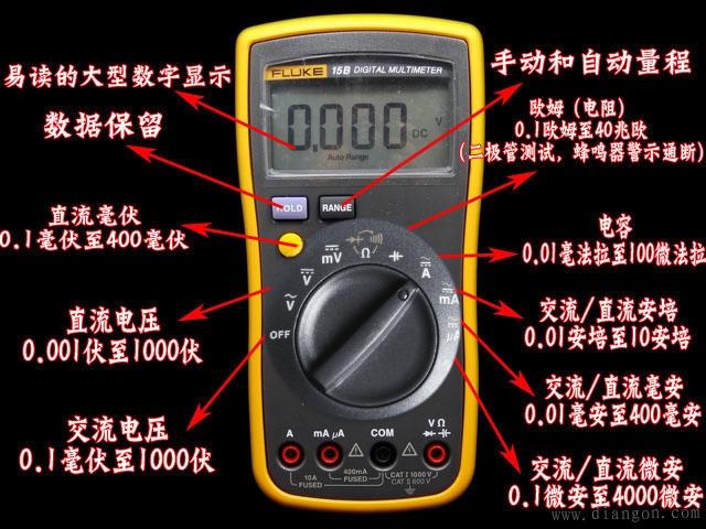 现在,数字式测量仪表已成为主流,有取代模拟式仪表的趋势。与模拟式仪表相比,数字式仪表灵敏度高,准确度高,显示清晰,过载能力强,便于携带,使用更简单。下面以VC9802型数字万用表为例,简单介绍其使用方法和注意事项。 (1)使用方法 a使用前,应认真阅读有关的使用说明书,熟悉电源开关、量程开关、插孔、特殊插口的作用.
