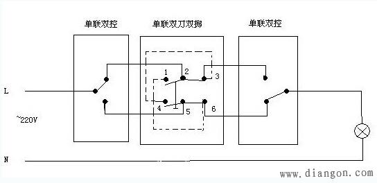 三联开关实物接线图 - 电路图分享 电工论坛