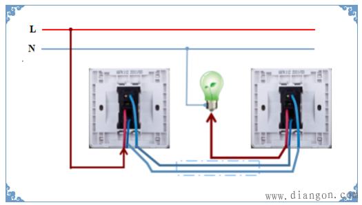 一灯两控开关接线图_两地控制一灯接线图