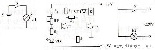 合上开关S时,H1得电发光照射到光电二极管VD2,其阻抗变小,使VT1发射结反偏,VT1由饱和(导通)转换为截止。集电极电流为零,使VT2发射结正偏而饱和导通,VT2的饱和电流流过继电器K线圈使其动合触点闭合。照明灯H2亮。