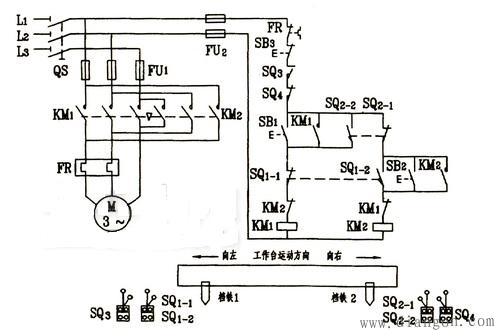 行程开关往返控制原理图 - 电路图分享 电工论坛
