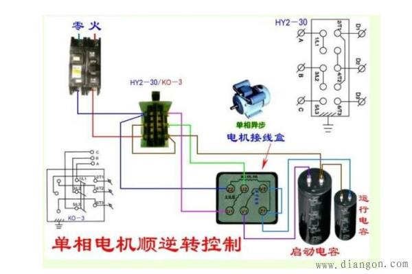 图为单相电机倒顺开关正反转接线实物图.