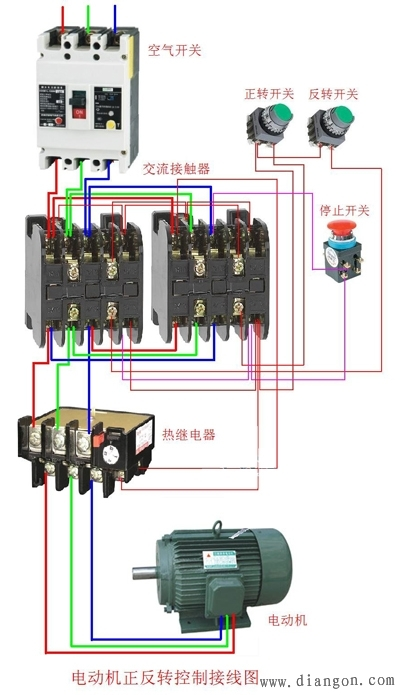 自動開關,三相水泵,交流接觸器怎樣接