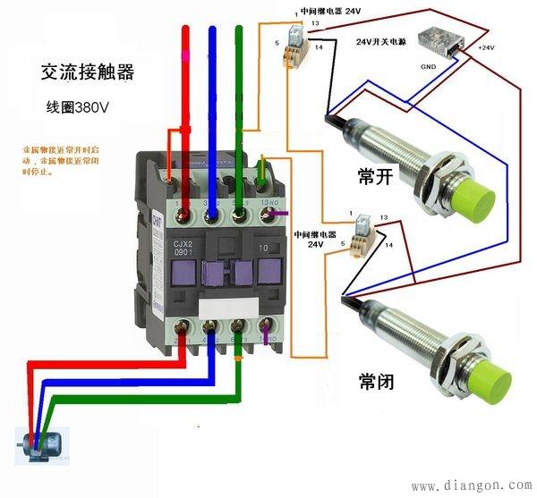 接近开关与中间继电器接线图