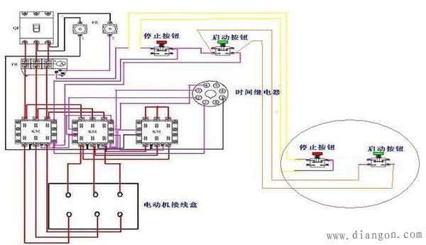 """方法有多种,一个方法是,只需把启动控制回路的""""启动""""按钮并联一个"""
