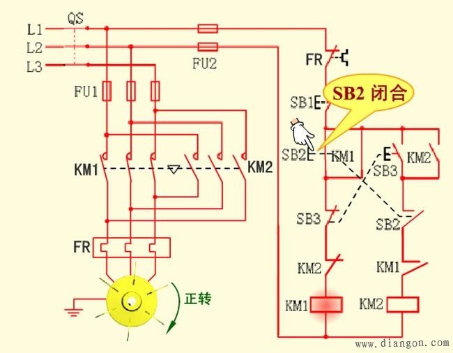 双重联锁电动机正反转控制电路图原理图解