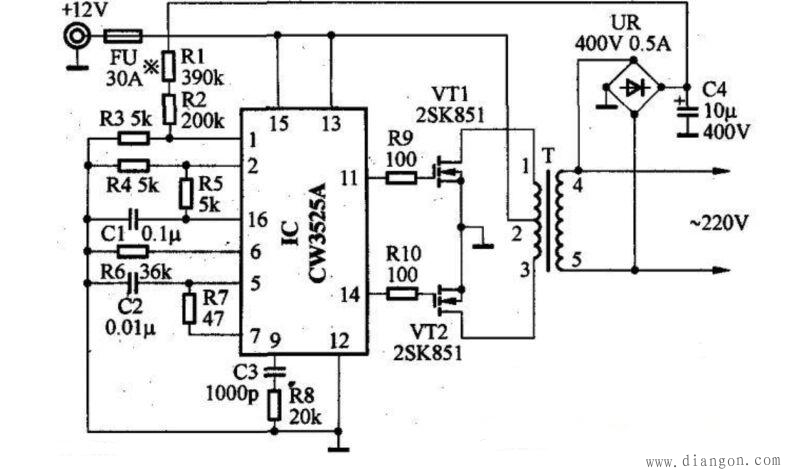 12v变220v逆变器电路图图片