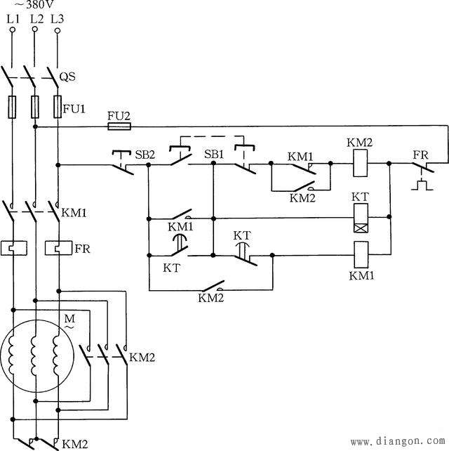 69 电路图分享 69 电动机降压启动接线图           用两个接触器