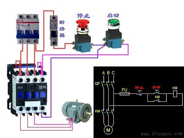 三相异步电动机自锁控制电路实物接线图图片