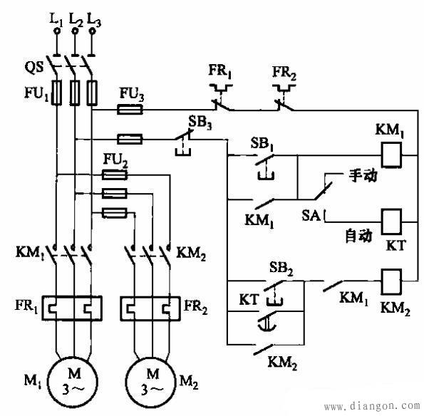 时间继电器, 电动机, 电路图, 开关