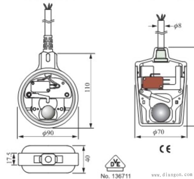 电缆式浮球开关接线图