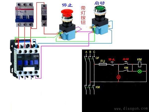 按钮控制接触器接线图 - 电路图分享 电工论坛