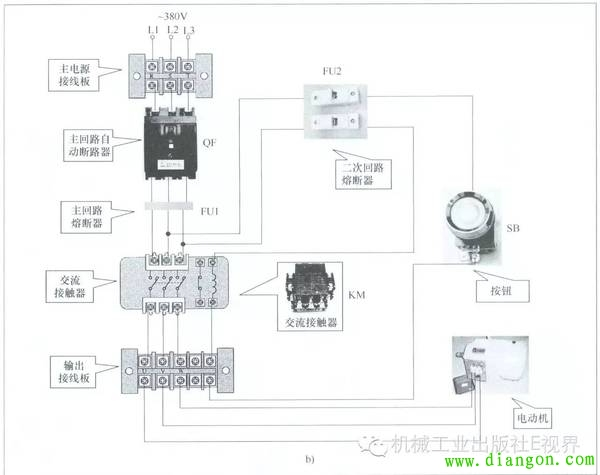 图4b所示为用按钮点动控制电动机起停接线电路实际连接线路,照此连接