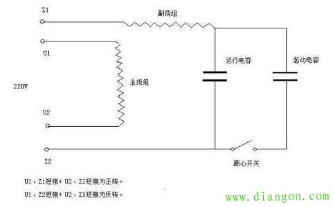 上图左右为正反转实物接线图,下图是电机绕组与电容接线原理图.