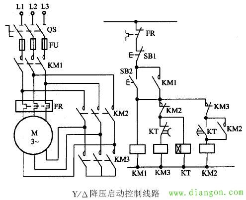 三相电机正反转星三角启动电路图