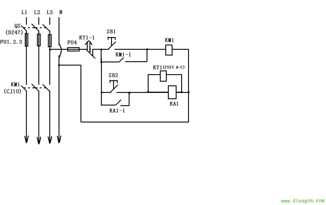 使用延时继电器,交流接触器,中间继电器控制的断电延时电路