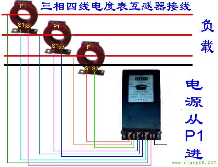 三相四线制电流互感器和电表的接法