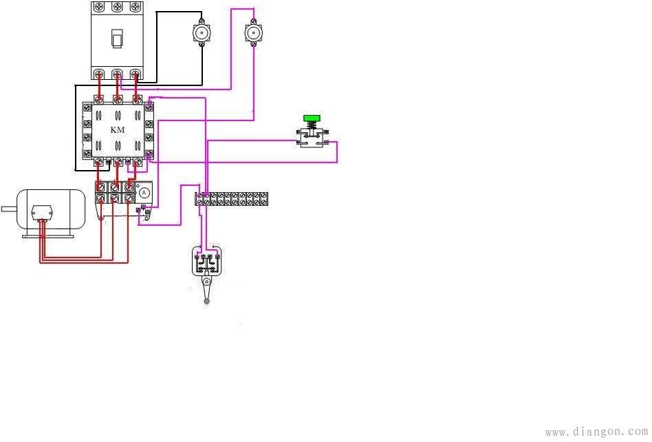 简易行程开关接线图
