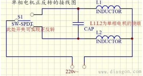 正反开关改变主绕组或副绕组的电流方向,可以实现正反转.