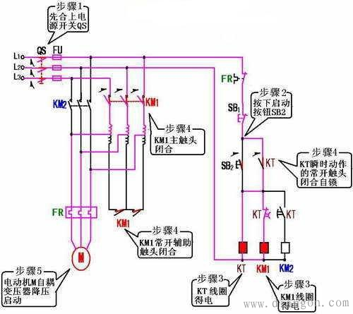 自耦减压启动柜接线图  自耦变压器降压启动是指电动机启动时利用自耦