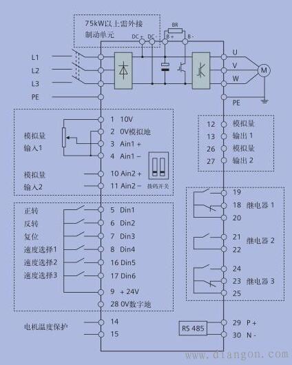 西门子mm440变频器的控制接线图