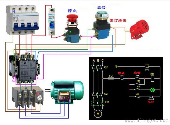 接触器控制电路指示灯接法图解  这个图比较直观,工作原理:合上空开
