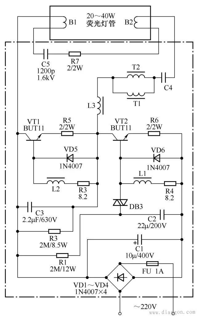 荧光灯节能电子镇流器电路图