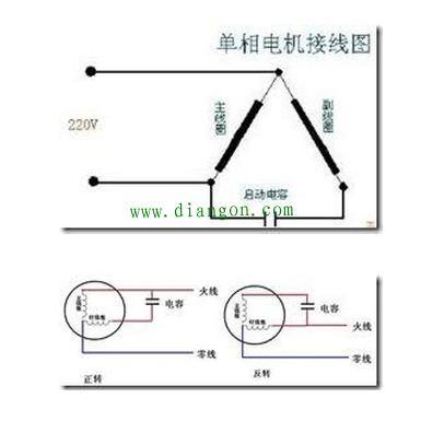 单相异步电动机串电容接线图