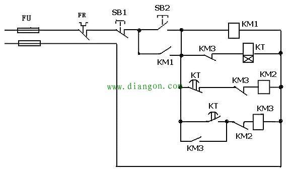 KT得电延时延时到KT常闭使KM2断电释放,星形启动停止电流经KT常开,KM2常闭使KM3吸合,线圈KM3常开使KM3自保持,开始角形运转KM3常闭断开KT电源。按SB1可停止电机运转。 《注》时间继电器设定的时间要根据具本情况设定,一般是当电机起到的时间到起动后电流降到额定电流之间的时间决定。