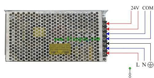 24V开关电源实物接线图