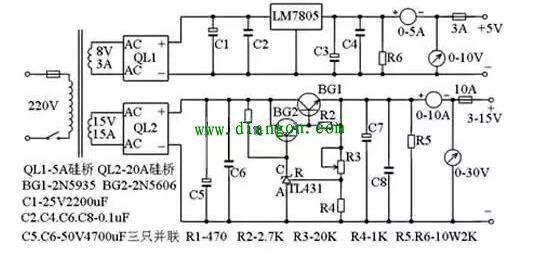 10a3~15v稳压可调电源电路图 - 电路图分享 电工论坛
