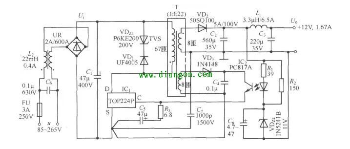 由TOP224P构成的 12V、20W开关直流稳压电源电路如图所示。电路中使用两片集成电路:TOP224P型三端单片开关电源(IC1),PC817A型线性光耦合器 (IC2)。交流电源经过UR和Cl整流滤波后产生直流高压Ui,给高频变压器T的一次绕组供电。VDz1和VD1能将漏感产生的尖峰电压钳位到安全值, 并能衰减振铃电压。VDz1采用反向击穿电压为200V的P6KE200型瞬态电压抑制器,VDl选用1A/600V的UF4005型超快恢复二极管。二 次绕组电压通过V砬、C2、Ll和C3整流滤波,获得