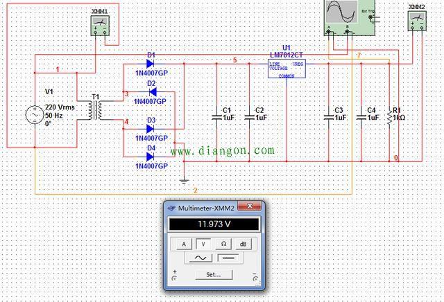 T1是交流降压变压器。把220V交流电压降为较低的电压,对于这个12V输出的线性稳压电源来说,T1的次级电压设置为14V~15V就足够了; D1、D2、D3、D4组成整流桥,把T1次级输出的交流电压转换为单向脉动电压; C1、C2是输入滤波电容,把单向脉动电压再变换为带有少量纹波的直流电压。这个直流电压除了带有纹波之外,还会随着电网电压的波动而变化,是不稳定的; LM7812是线性稳压器,把不稳定的、带有交流纹波的直流电压变换成稳定的高质量的12V直流电压; C3、C4是输出滤波电容,主要作用是抑制7
