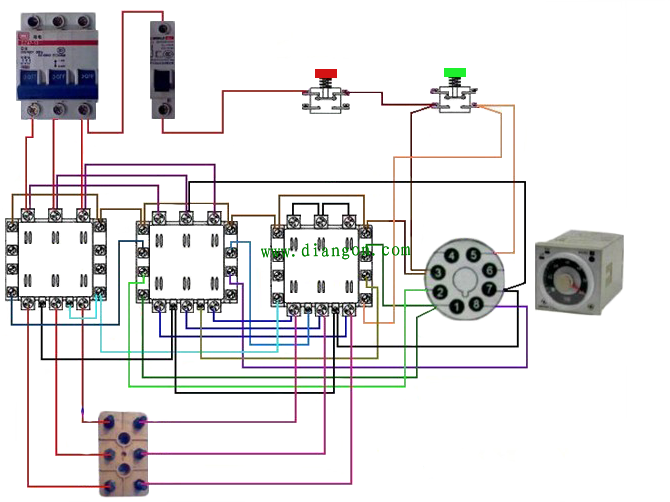 图5 星形-三角形降压启动电路元件实物连线图 闭合电源开关QS 星形降压启动控制 按下启动按钮SB1接触器KM3线圈和时间继电器KT线圈均得电KM3主触点闭合、KM3常开辅助触点闭合、KM3常闭辅助触点断开KM3主触点闭合,将电动机绕组接成星形;KM3常闭辅助触点断开使KM2线圈的供电切断;KM3常开辅助触点闭合使KM1线圈得电KM1线圈得电使KM1常开辅助触点和主触点均闭合KM1常开辅助触点闭合使KM1线圈在SB1断开后继续得电;KM1主触点闭合使电动机U1、V1、W1端得电,电动机星形启动