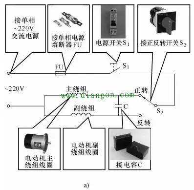 单相电容电动机的接线图