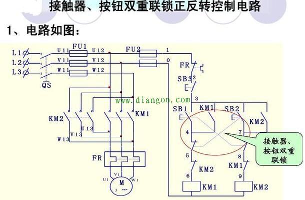 接触器,按钮双重连锁正反转控制电路原理图解 - 电工