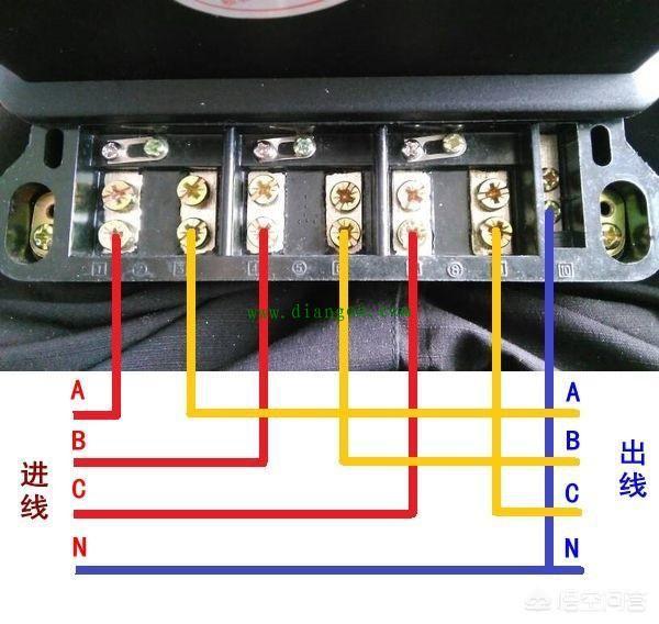 三相四线电表实物接线图