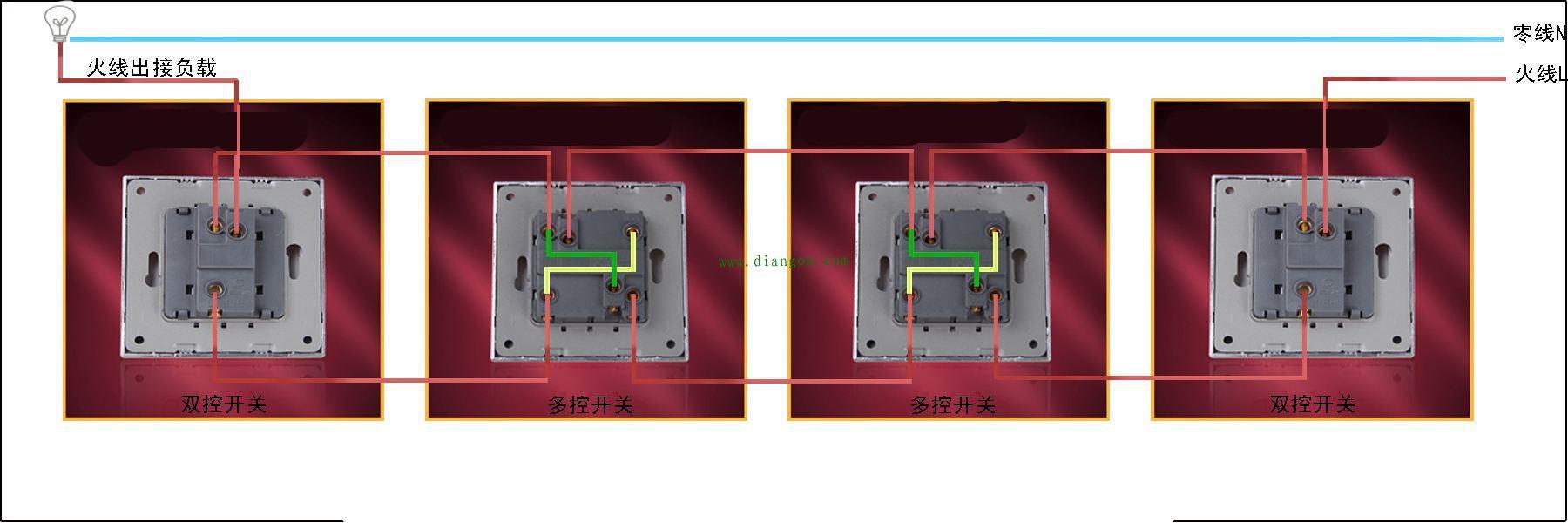 一灯三控开关接线图解 一灯四控开关接线图解 多控开关实物接线图