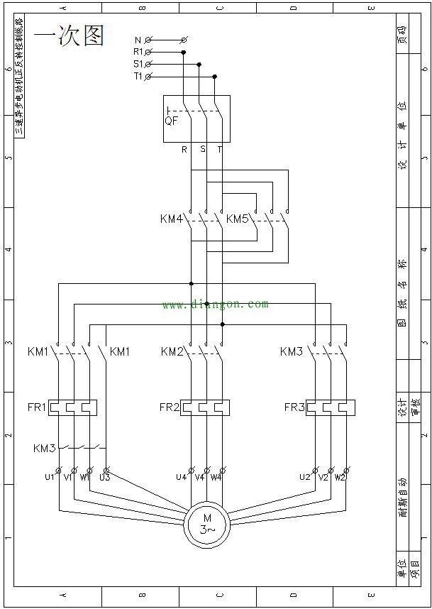 ,FR2为中速运行热继电器,FR3为高速运行热继电器,KM1为低速运行接触器,KM2为中速运行接触器,KM3为高速运行接触器,KM4为正转运行接触器,KM5为反转运行接触器,辅助触点的型号是F4-22,3M~为三相异步电动机。 备注:电气原理图接触器线圈电压为AC220V。