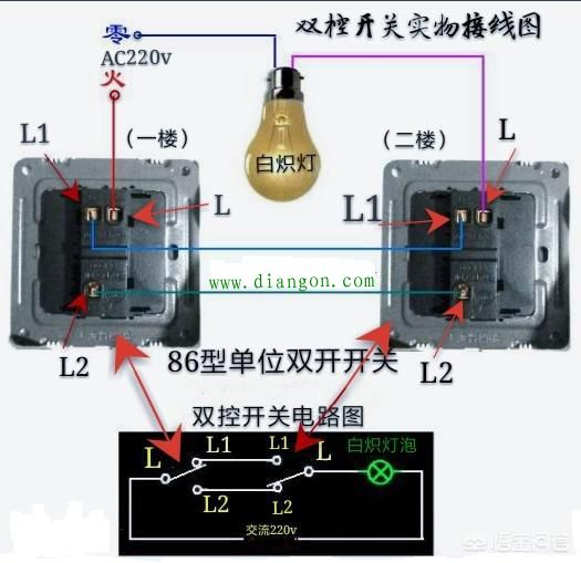 电灯开关上有l,l1和l2怎么接线?